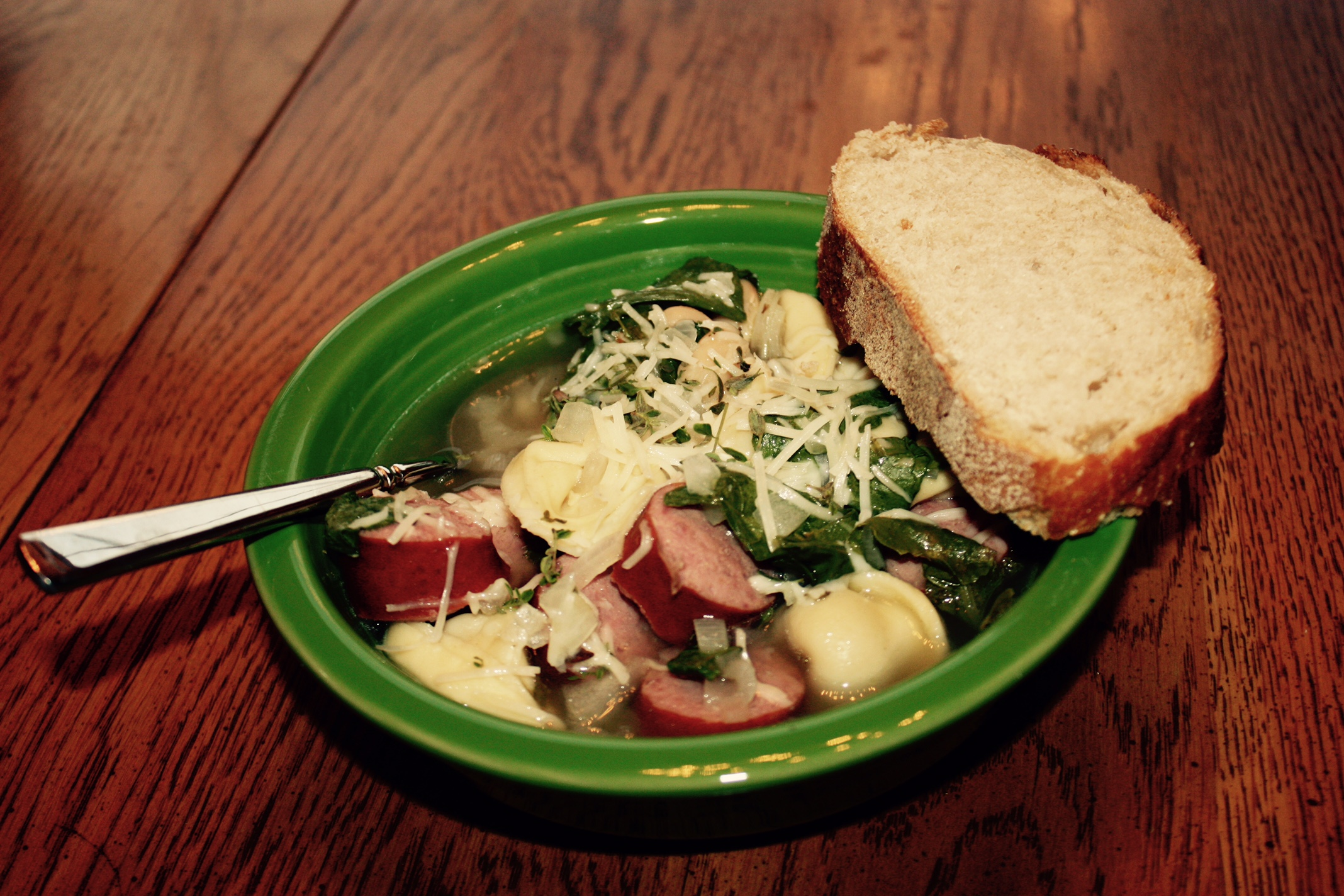 ... » Cheese Tortellini Soup with Cannellini, Kielbasa, and Kale