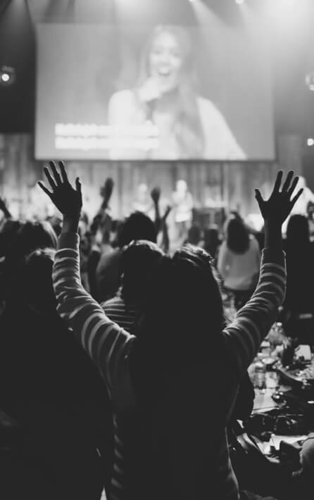 Worship with raised hands